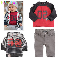 3PCS/Zero-5Years/Spring Autumn Baby Boys Clothing Set Stripe Hooded Coats+T-shirt+Pants Children's Sports Suits Kids Clothes BC1143