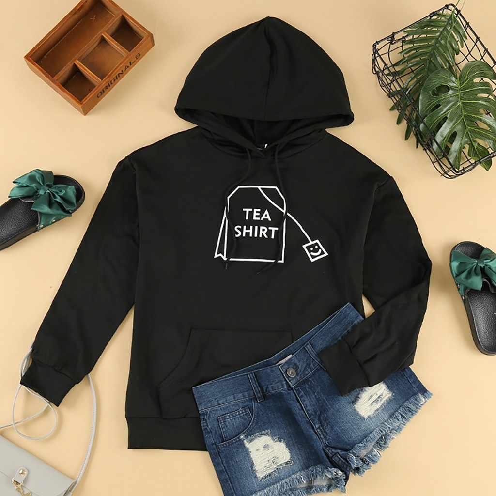 Женская модная чайная сумка с длинным рукавом, свитер с капюшоном, Тонкая Повседневная теплая толстовка, Спортивная тренировочная рубашка