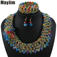 Statement necklace 2018 fashion jewelry sets Handmade beads chain crystal flowers dubai jewelry sets Vintage Bijoux Accessories