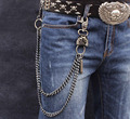 Mens Skull Clasp Double Chain Biker Trucker Punk Keychain Key Jean Wallet Chain