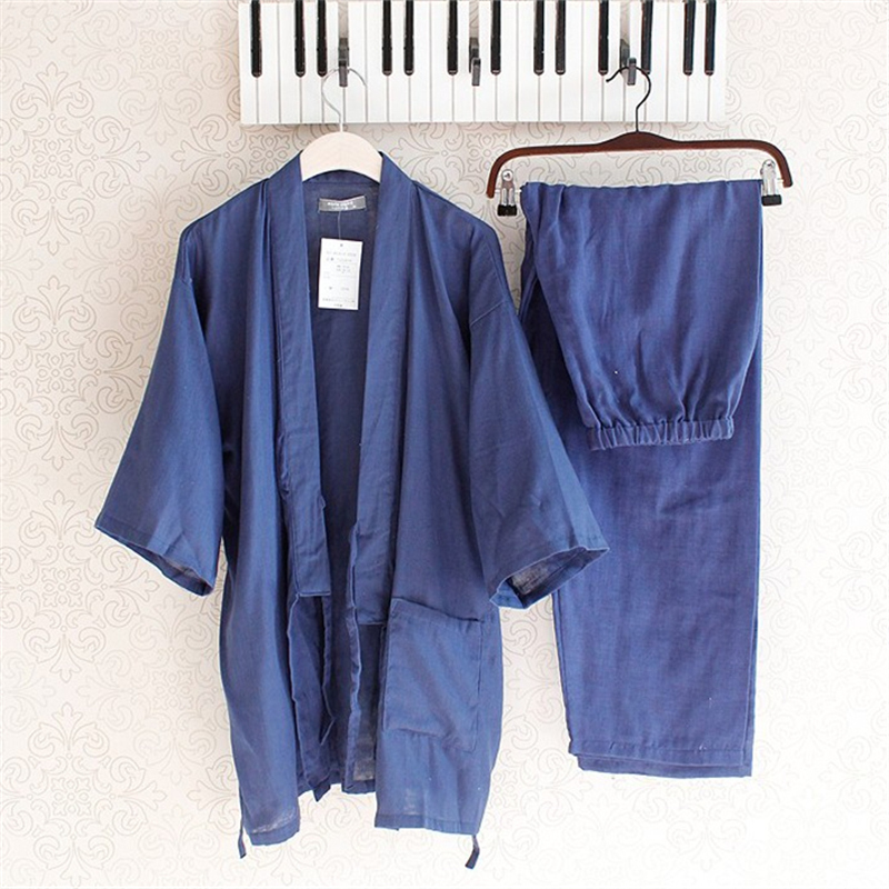 Underwear & Sleepwears Learned Summer Kimono Pajamas Men Cotton Pajamas Half Pants Mens Lounge Sleepwear Kimono Pajama Set Men's Pajama Sets