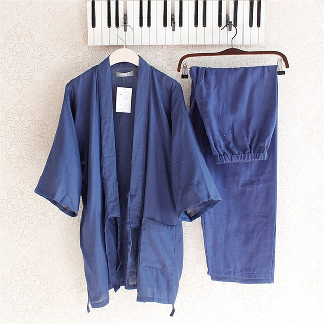 7b2a99b06c Cotton Yukata Japanese Kimono Traditional Japanese Men s Clothing Japanese  Pajamas Men s Sleepwear Lounge Home Clothing Suits