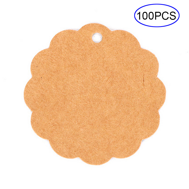 100Pcs/Set Blank Price Hang Tag Wedding Note Luggage Kraft Paper Tags DIY Lace Label Card Gift 2018ing