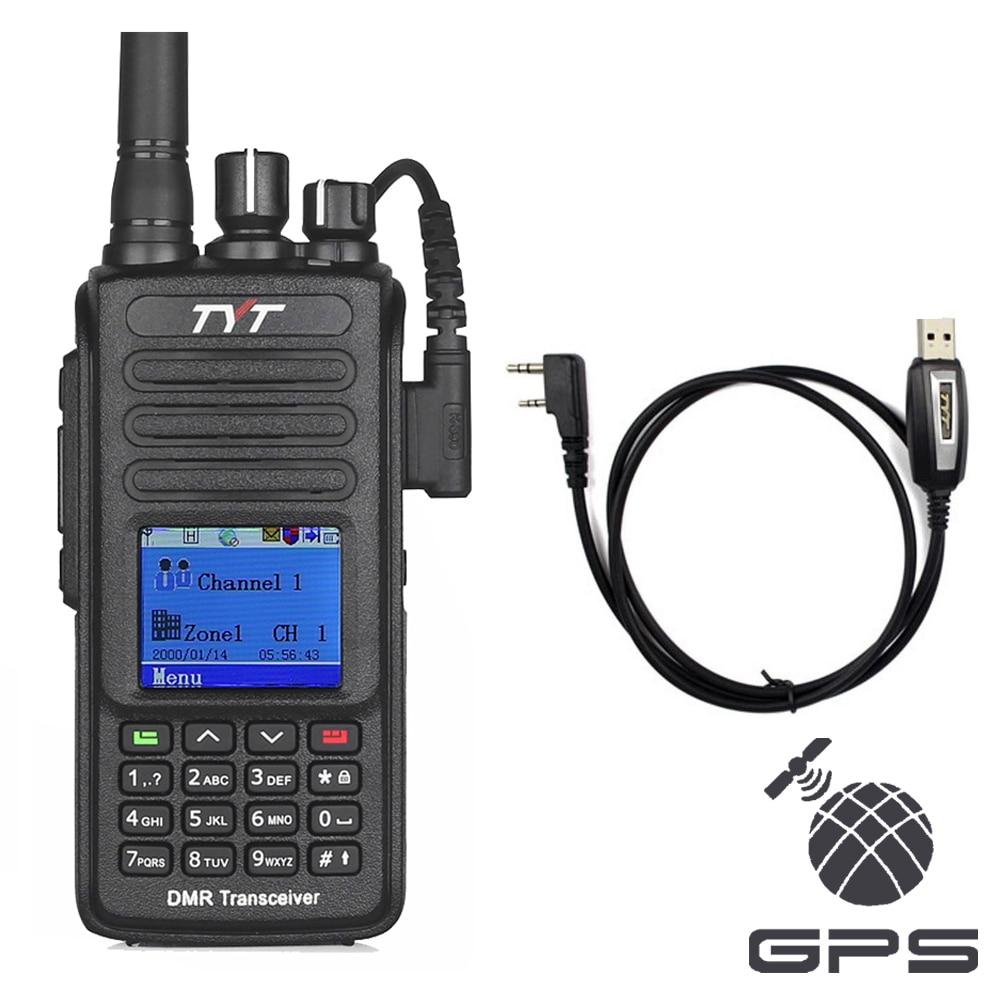 TYT MD-390 GPS UHF 400-480 mhz IP67 Impermeable DMR Digital de dos vías Radio Walkie Talkie Transceptor Cable de programación md390