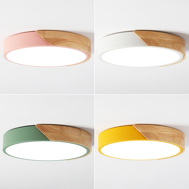 LED ceiling lights indoor lamps wooden Ironware and Acrylic kitchen bed room foyer study LED light fixture