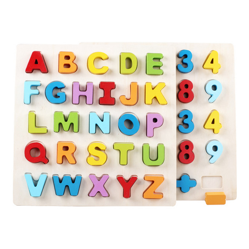 30CM Baby Alphabet And Digit Learning Hand Grasp Wooden Puzzle Education Toys Child Wood Jigsaw Toy Kids Early Educational Toys