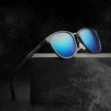 VEITHDIA יוניסקס רטרו אלומיניום מגנזיום משקפי שמש מקוטב עדשת בציר משקפי שמש אביזרי משקפיים Oculos דה סול 6680