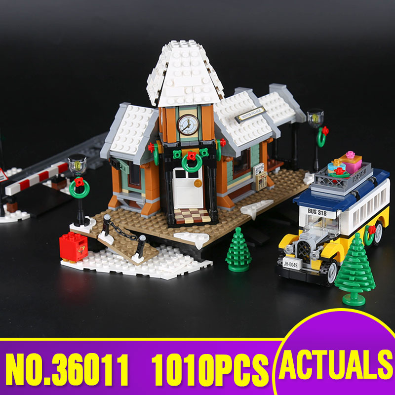 Lepin 36011 Creator series The Winter Village Station Model Building Blocks Compatible legoly 10259 classic architecture Toy lepin 36011 creative series 1010pcs legoinglys village station model sets building nano block bricks toys diy for boy girls