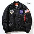 2017 Мода НАСА Мужские MA1 Бомбардировщик Куртка Знаки ВВС США хип-хоп Хип-Хоп Мужской Ветровка Куртка Флаг Мужская Наса Куртка
