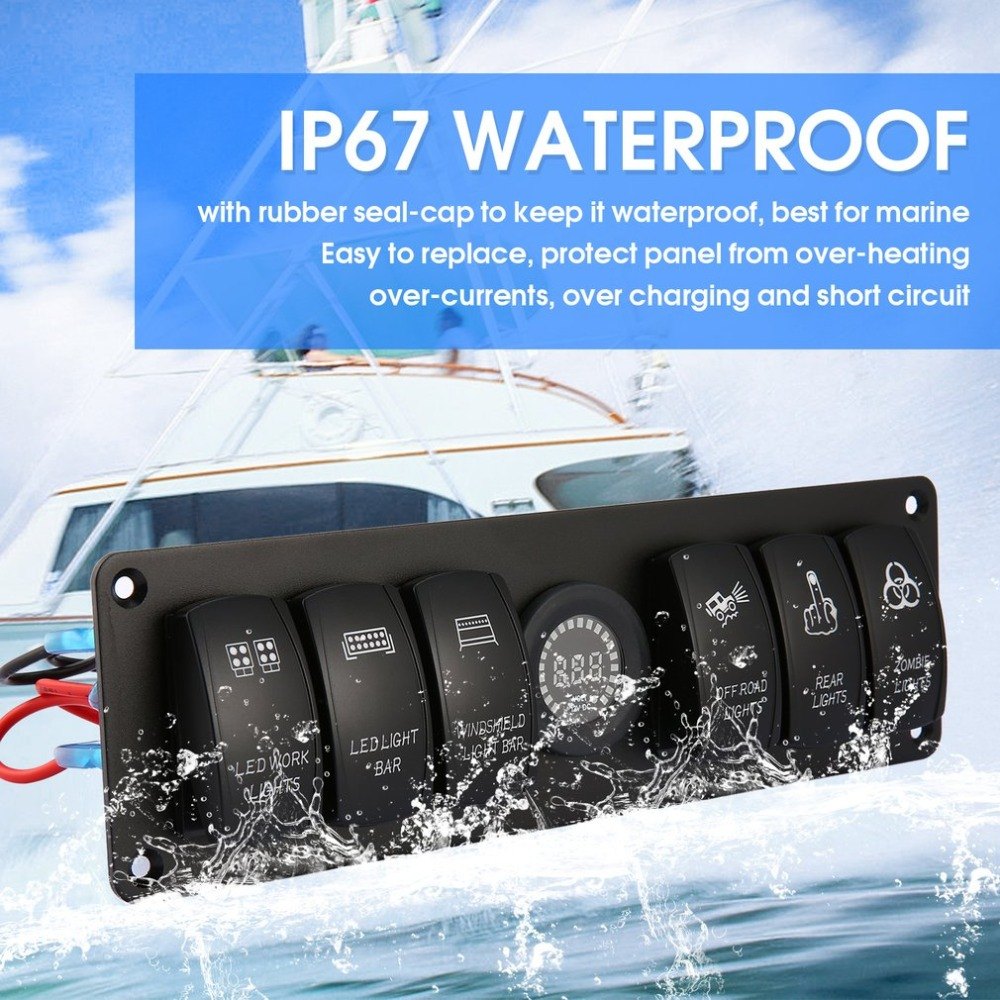 Detail Feedback Questions About 6 Gang 12v 24v Rocker Switch For Car Led Circuit Series Protection Marine Boat Breakers Overload Protected Light Panel