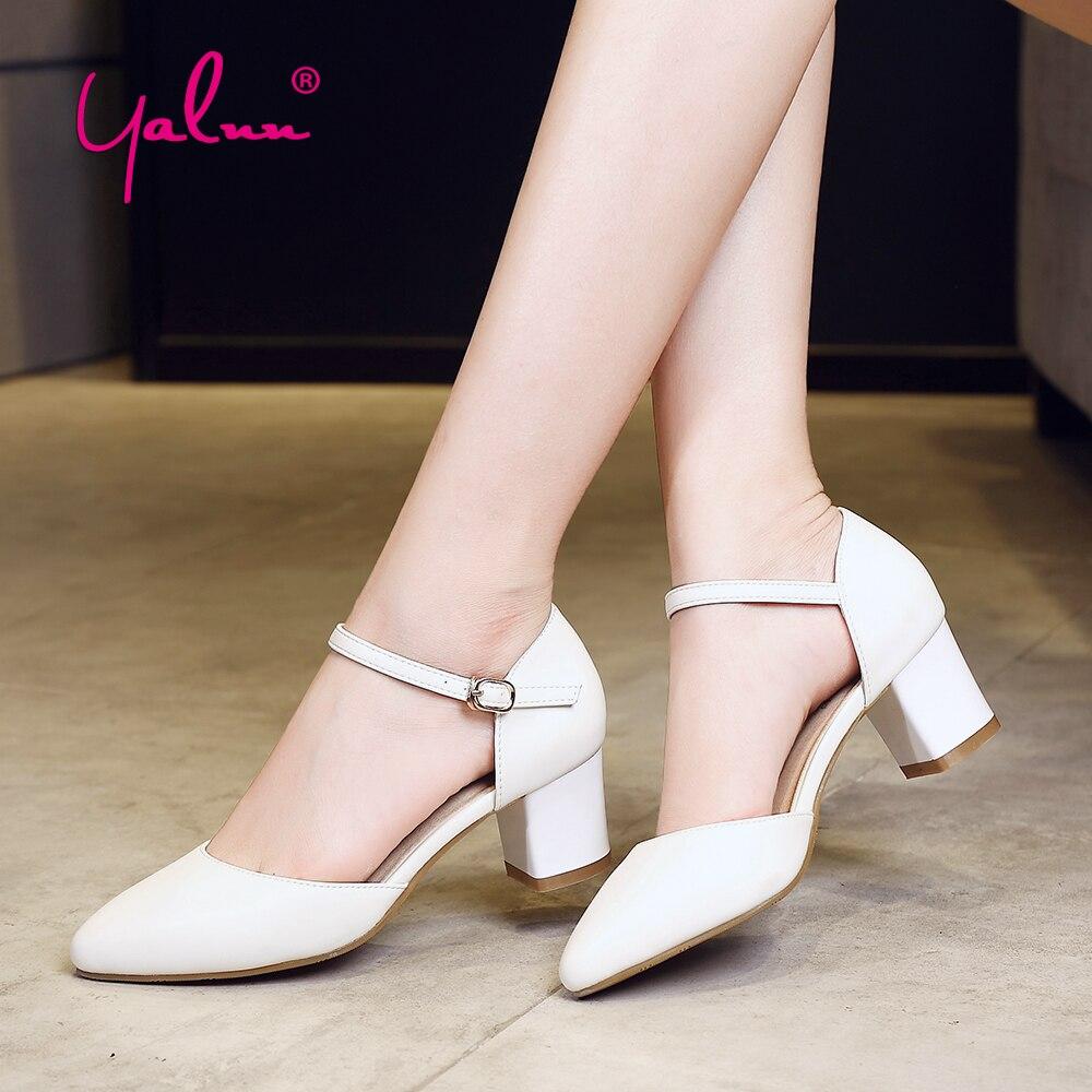 3 Untuk 7 Cm Tinggi Heels Wanita Sepatu Hitam Elegan Platform Putih Pompa Kantor Sekolah Sandal Tumit Persegi Berongga