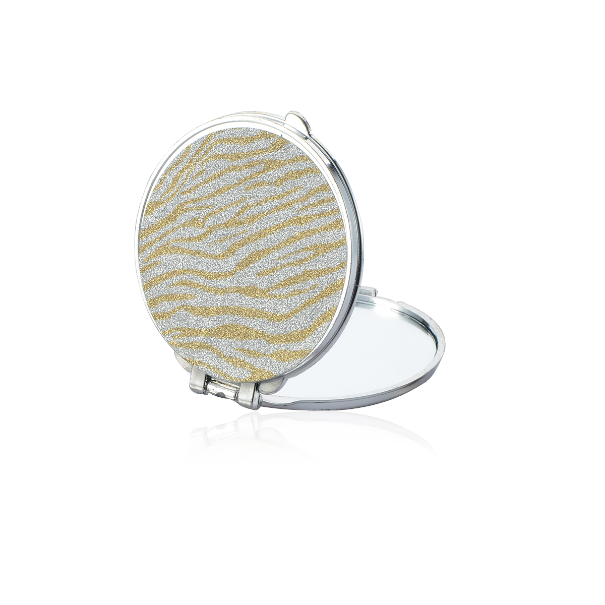 Portable Mini Makeup Mirror Compact Pocket Mirror Double Sided Folding Cosmetic Mirror Female Gifts With flowing sparkling sand in Makeup Mirrors from Beauty Health