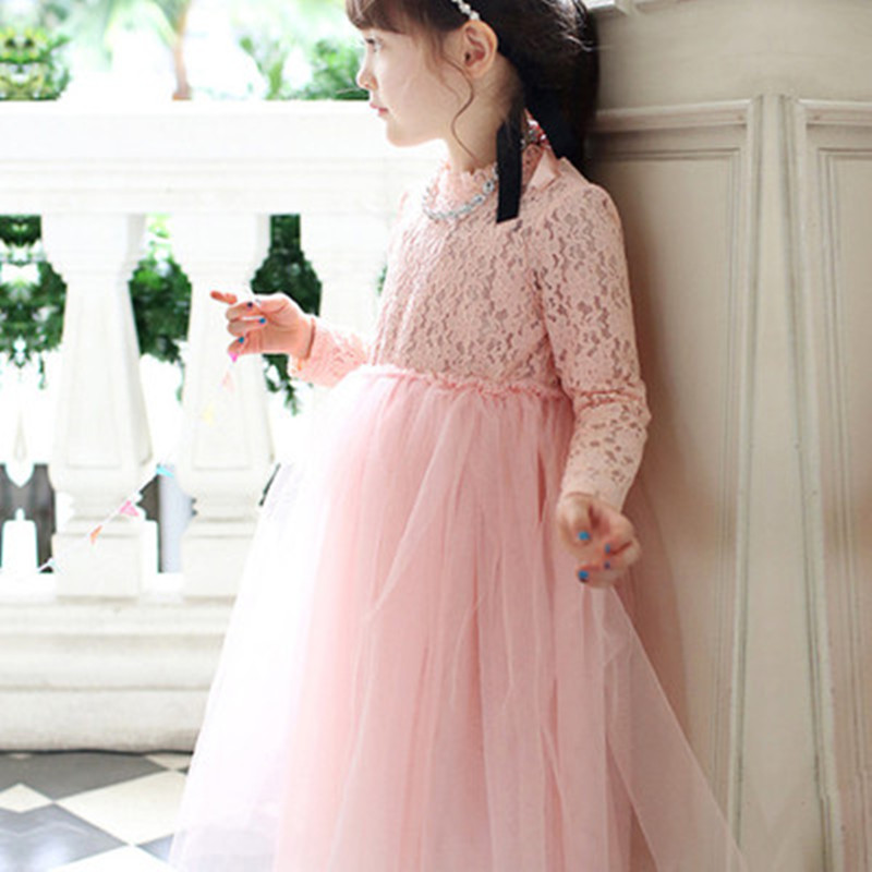 Flower Girls Dress For Wedding 2017 Autumn Kids Long Lace Formal Birthday Party Dresses Ball Gown Costume Princess Dress Vestido girls long formal dress 2017 flower girls princess dresses kids lace vintage evening party ball gown children s wedding dress