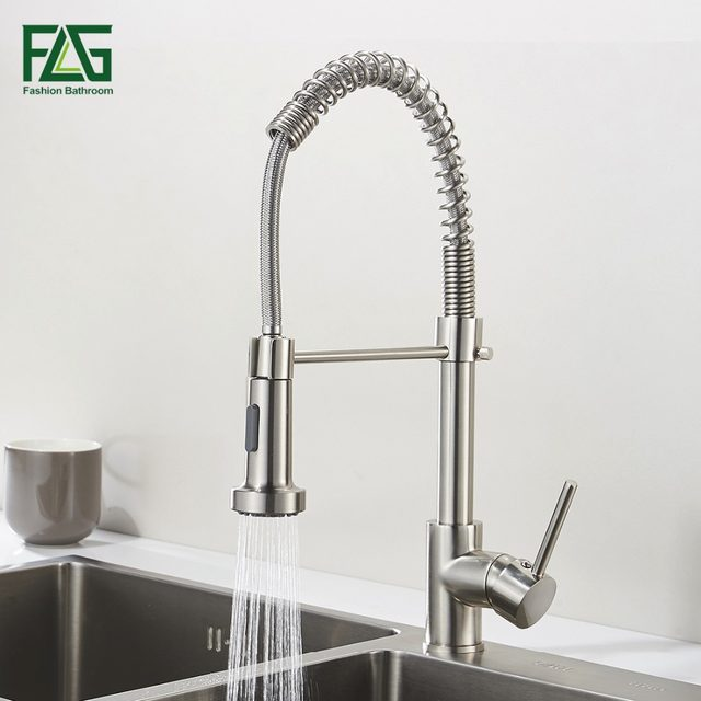 Online Shop Spring Style Kitchen Faucet Brushed Nickel Faucet Pull ...