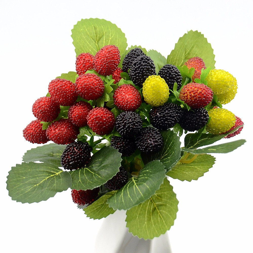 1Bouquet/9 Heads Artificial Fruit Foam Berry Strawberry Fake Simulation Glass Fruit Red Cherry For Home Wedding Party Decoration