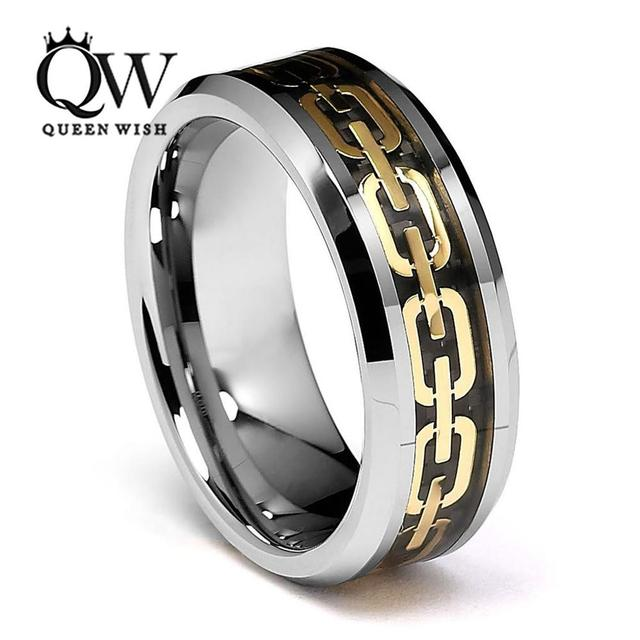 men tungsten wedding bands jewelry statement gold color link chain couple rings sets beveled edge - Tungsten Wedding Ring Sets