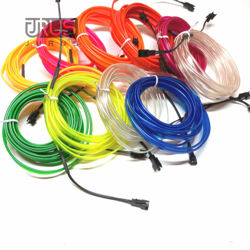 JURUS 3Meters flexible neon light glow el salon wire flat led strip for interior lights 12V Inverter Vehicle Car Decoration best price 4 way in 1 splitter cable for el wire tube neon strip light conected with inverter black