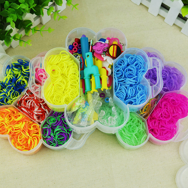 Diy Children's Woven Rubber Band Bracelet Toys Handmade Craft Materials Rainbow Leather Band Three-layer Plum Blossom Box