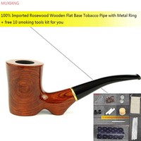 2015 Manual Rosewood Tobacco Pipe Lump Flat Base Novelty Smoking Pipe 9mm Activate Carbon Filter Pipe