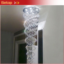 New Arrival Modern LED Double Helix Spiral Staircase Crystal Chandelier Duplex Villas Luxury Crystal Lamp Living Room Lights modern simple duplex staircase led bubble column living room chandelier rotating villa ceiling crystal column led crystal lights