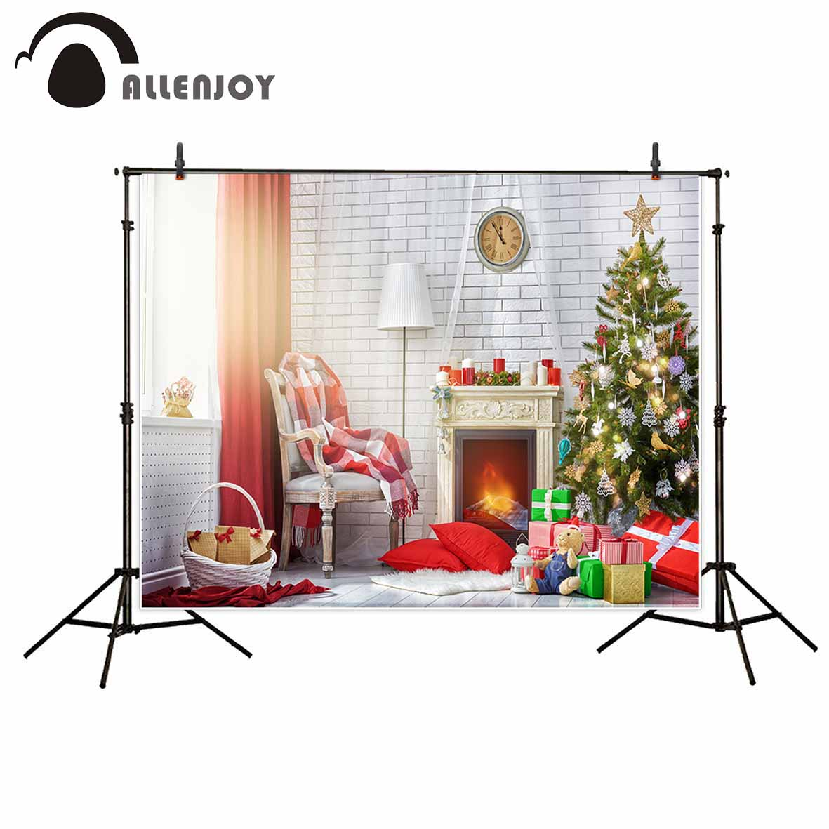 Allenjoy photographic background Life Christmas tree gift armchair fireplace Photographic for study Photo