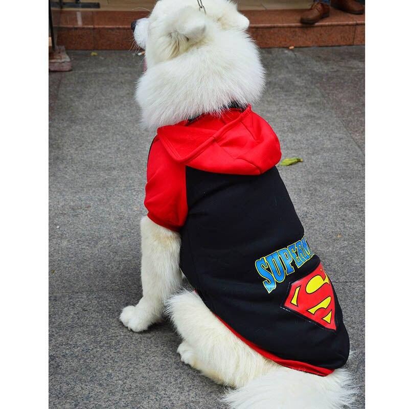 Importato Dall'Estero 2xl-9xl Superman Vestiti Del Cane Freddo Abbigliamento Per Cani Di Grossa Taglia Cappuccio Large Size Coat Costume Animali Abbigliamento Cotone Sportswear 20a Rendere Le Cose Convenienti Per I Clienti