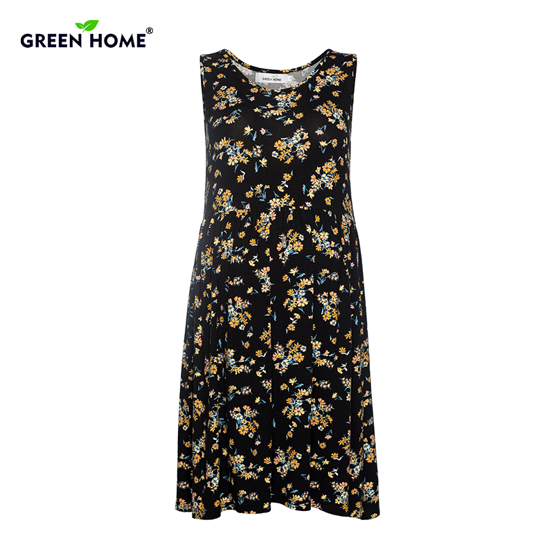 Green Home Causal Dress Pregnant Summer Floral Print Maternity Dress Sleeveless Fold Gravida Dresses Loose Pregnancy Clothes