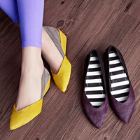 KSJYWQ 2017 Genuine leather Women Wedges 5 cm heels Horsehair Casual Shoes Woman yellow color Pointed toe Pumps Box Packing B358