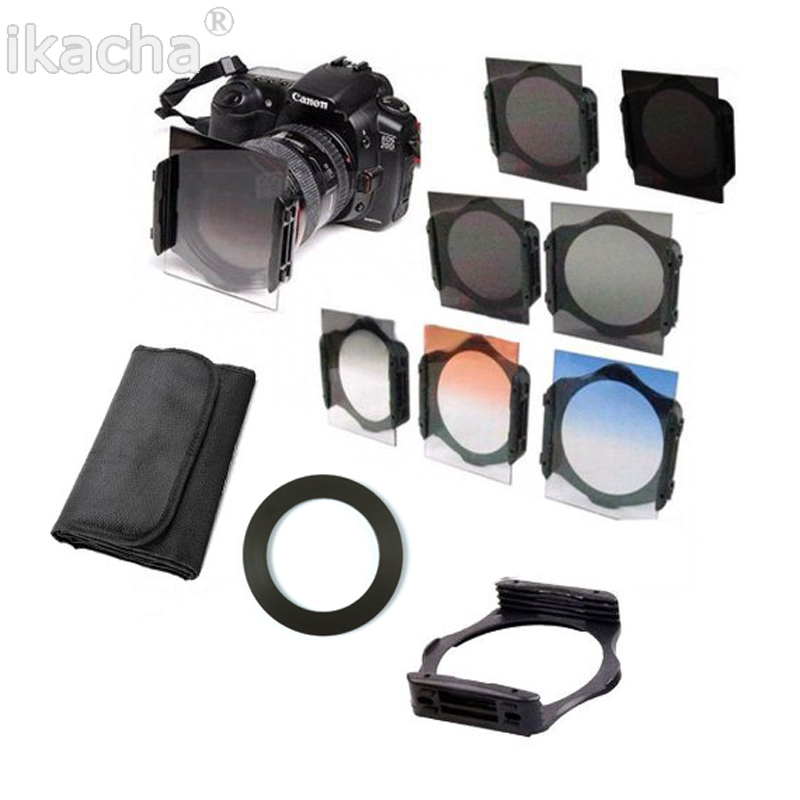 Completo nd 2 4 8 + gradual nd4 azul naranja filtro 49 52 55 58 62 67 72 77 82 MM kit para cokin P set SLR DSLR Objetivos para cámaras