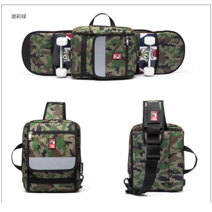 Street Skateboard Backpack Single-Shoulder Double Rocker Carrying Bag 900D Nylon Oxford Knapsack Suits For 21x90cm Decks
