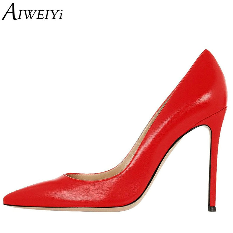 AIWEIYi Women's Stiletto High Heels Solid Color Pump Shoes Pointed toe Slip On High Heels Ladies Wedding Party Pumps 10CM Heels aiweiyi women high heel pump shoes 2018 pointed toe med heel high heels patent leather slip on platform pumps lady wedding shoes