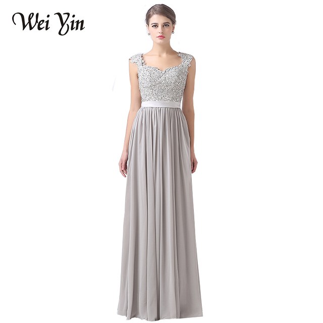 Weiyin elegantes Vestidos Grey en V Cuello V Crystal formal espalda Beads Sin UzSMqpV