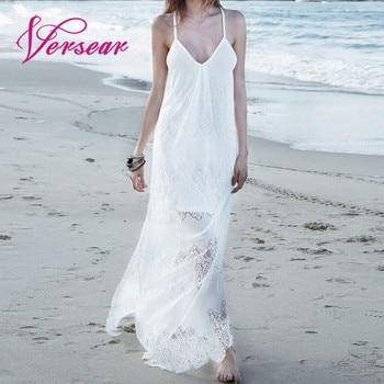 9c594188b241f8d Versear 5XL белое кружевное платье для женщин Лето 2019 Длинное Макси  платье в пол плюс размер спагетти сарафан на ремне saida de praia