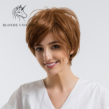 Blonde Unicorn 30 Human Hair Wig Pixie Cut Natural Wavy Fluffy Layers Wig With Bangs For White Women Short Blonde Free Shipping Buy At The Price Of 30 59 In Aliexpress Com Imall Com