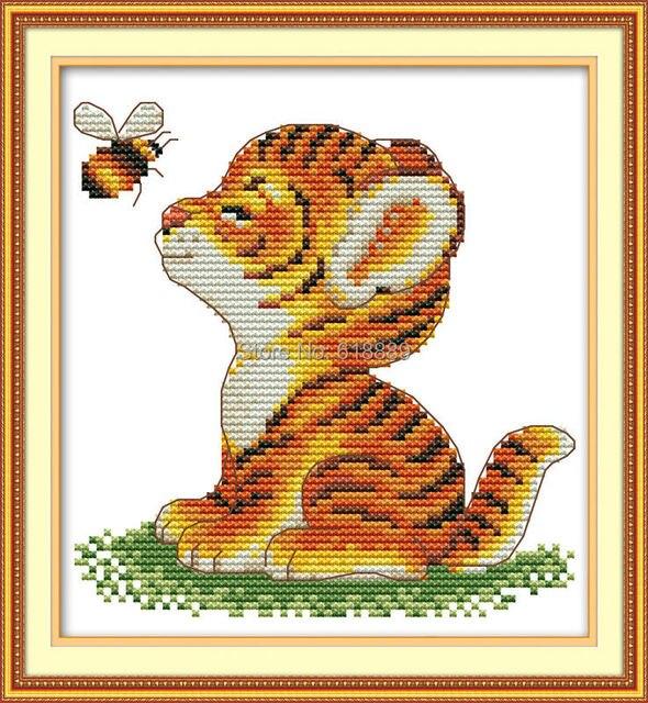 Tigre y abeja Pegatinas para uñas contados Cruz puntada 11ct 14ct ...