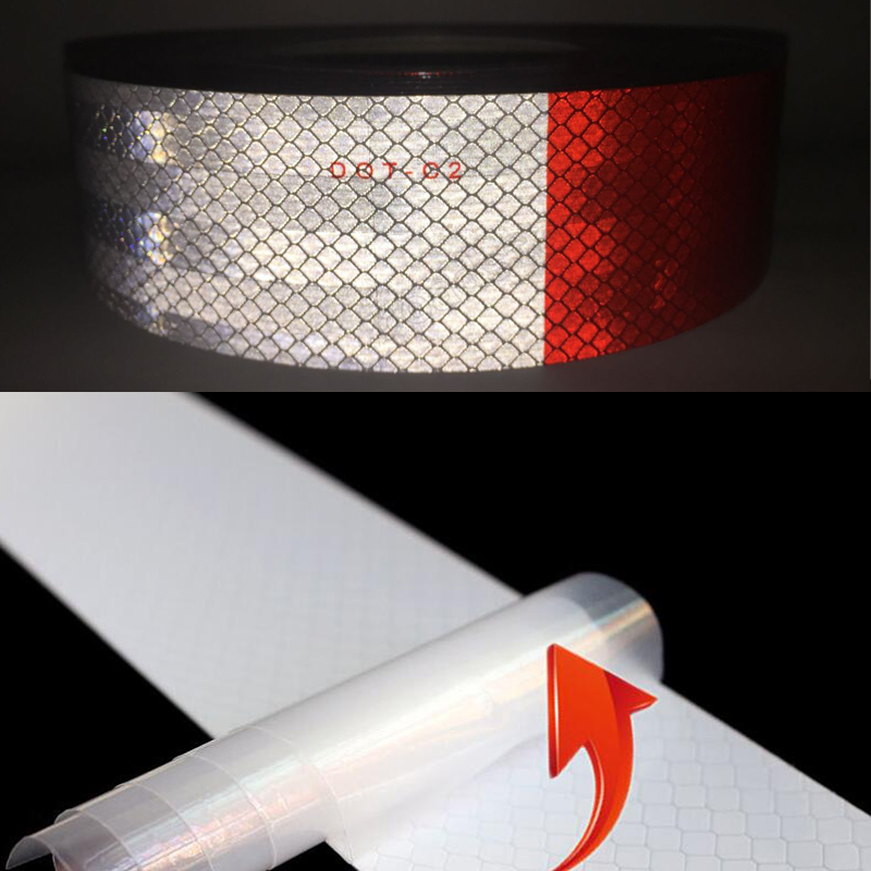 5cm X 25m  Reflective Tape Stickers Car Styling Self-adhesive Tape PET Engineering Grade Barrier Trailer Tape