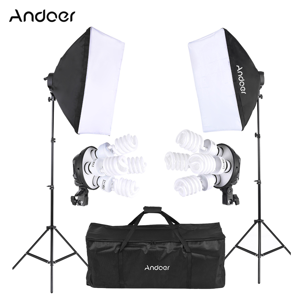 Andoer Studio Photo Lighting Kit with 2 * Softbox / 2 * 4in1 Bulb Socket / 8 * 45W Bulb / 2 * Light Stand / 1 * Carrying Bag-in Photo Studio Accessories from Consumer Electronics    1