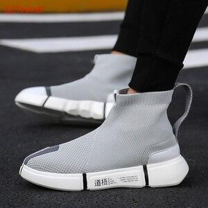 Image 2 - 2018 homens tênis casuais sapatos deslizamento em tenis masculino adulto meias calçado tecer malha respirável estilo masculino adulto leve