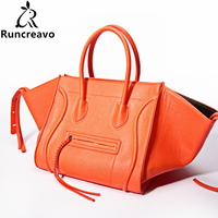 Women Classic Luxury PU Leather Smiling Face Bag Chamois Handbags Bat Wings Lady Smiley Tote Phantom Famous Purse LH