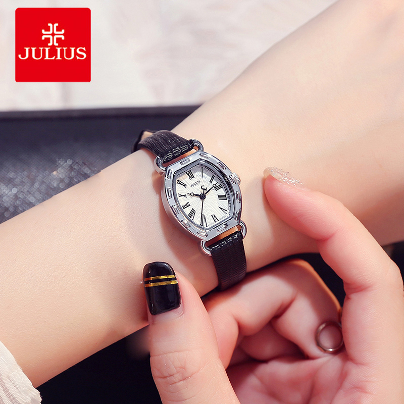 Julius Women Watch Casual Dress Leather Quartz Ladies Wrist Watch Rose Gold Small Dial Rome Number Female Watch Relogio Feminino cute rose gold crystal flower thin strap small dial leather quartz women ladies wristwatches wrist watch gift