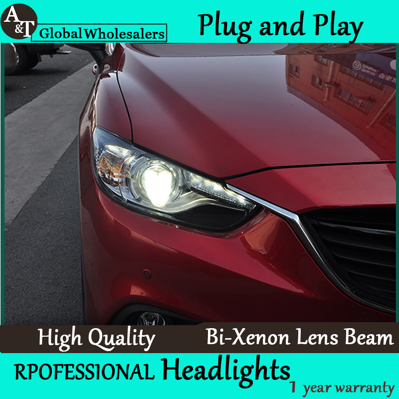 Free Shipping Car Styling for Mazda 6 Headlights New Atenza LED Headlight DRL Lens Double Beam H7 HID Xenon bi xenon lens free shipping carbon fiber headlight covers eyelids eyebrows fit for mazda 6 vi ruiyi 09 13