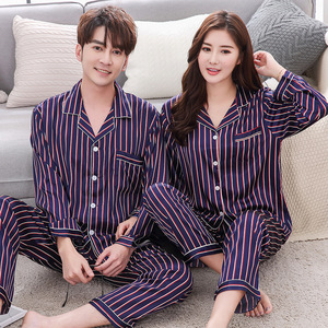 Image 5 - BZEL Couple Pajama Sets Silk Satin Pijamas Striped Sleepwear His and her Home Suit Pyjama For Lover Man Woman Lovers Clothes