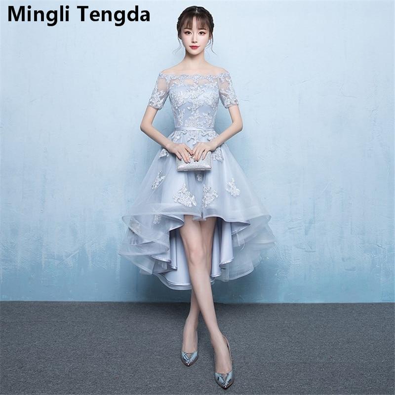 Mingli Tengda 2018 Gray Champagne Bridesmaid Dresses Boat Neck Dress for Wedding Party Lace Short Bridesmaid