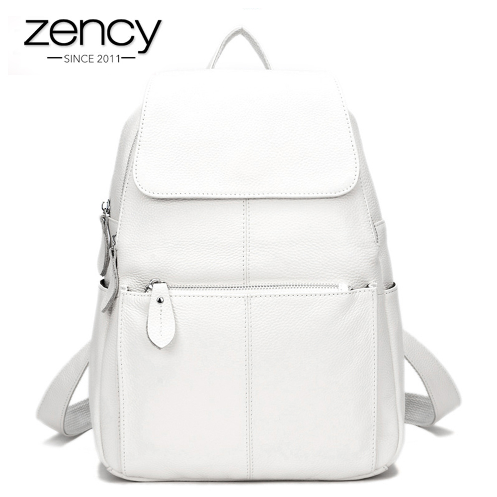 Zency 15 Colors Fashion Women Backpack 100% Real Cow Leather Beige Travel Knapsack Large Capacity Girls Schoolbags Preppy Style-in Backpacks from Luggage & Bags    1