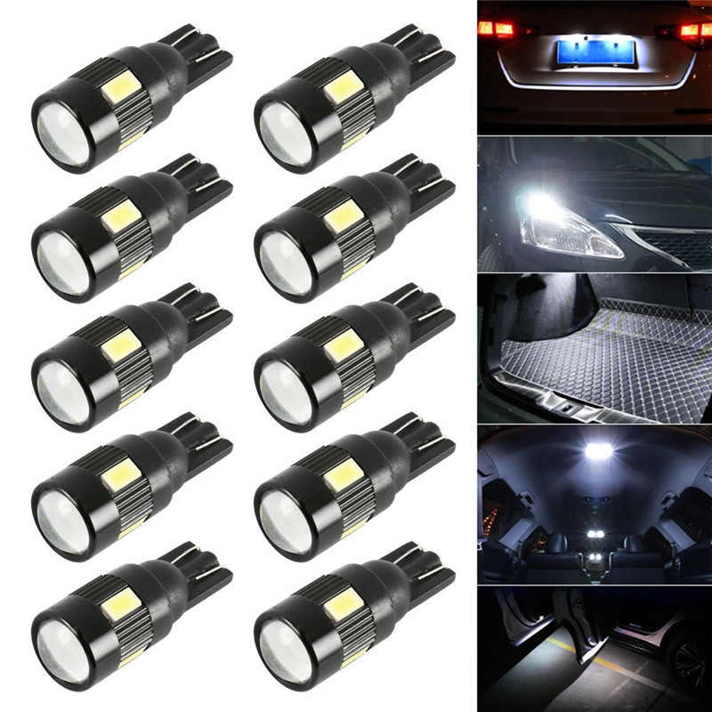 501 Led Power Xenon White High T10 W5W Capless Sidelight Bulbs 6000k 8000k 1.5w