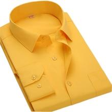 בתוספת גודל 8XL ארוך שרוול מוצק 6XL Mens מזדמן חולצות חברתיות גדול גודל גברים חולצה בגדי עבודה 5XL 6XL 7XL זול QiSha BS12xx