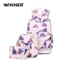 Winner Набор рюкзак женщины печати рюкзак холст портфели школьные рюкзаки сумки для девочек-подростков сумка пакет обратно мешок