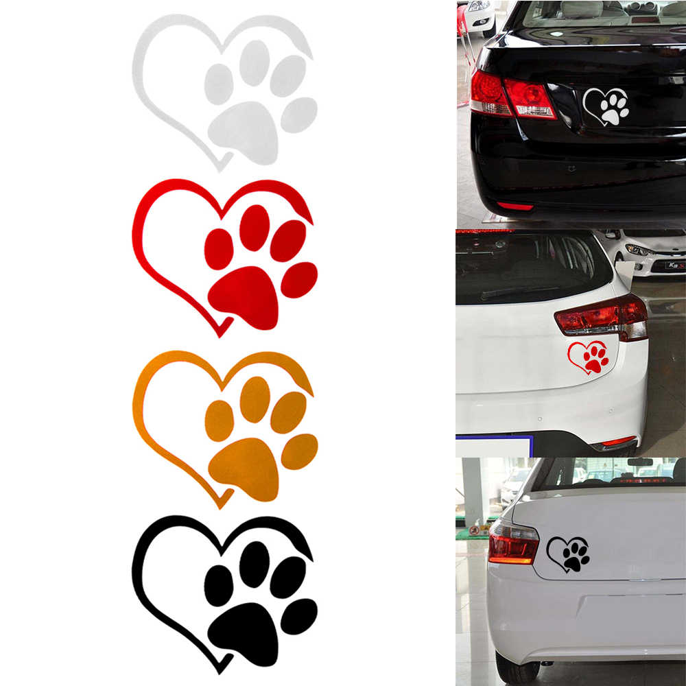 Detail feedback questions about 1 pcs universal heart shaped dog cat paw print car sticker for camper van motorcycles waterproof vinyl decal for car styling