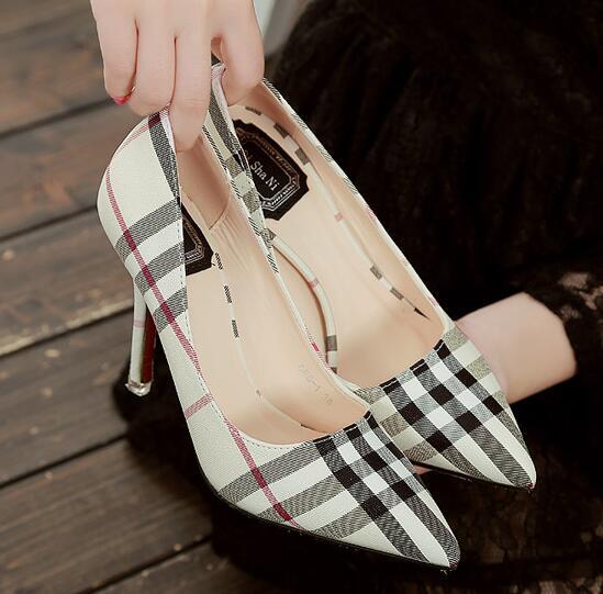 2016 New fashion brand High Heels pointed Toe Plaid Pumps Woman Sexy Fashion font b Women