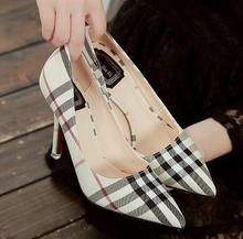 2016 New fashion brand High Heels pointed Toe Plaid font b Pumps b font Woman Sexy
